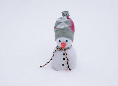 Bonhomme de neige en chaussette