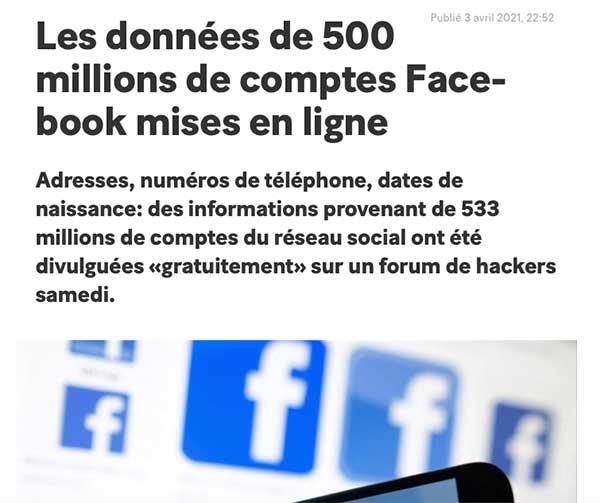 Facebook piratage 2021